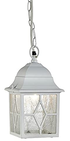 Outdoor White Ceiling Pendant Lantern with Cathedral Lead Glass by