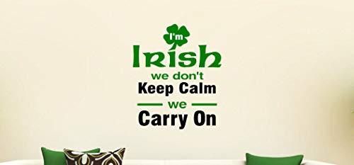 CLIFFBENNETT Cliffbennet Irischer Wandaufkleber aus Vinyl, Aufschrift Keep Calm Irish Temper, lustige Wandbeschriftung, Rowdy Irish Home Decor, Kleeblatt -