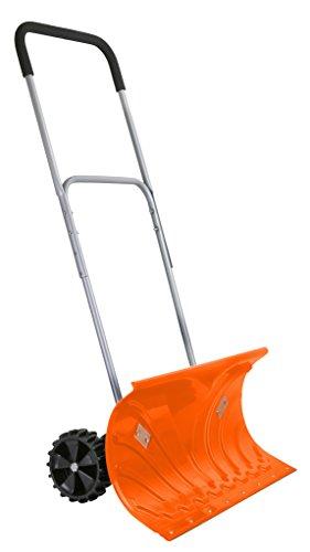 Ivation Heavy Duty Rolling Schneeschieber mit 15,2cm Gummi Rollen und verstellbarem Griff, Bright Orange