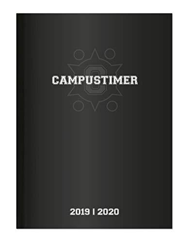 Campustimer Black - A5 Semesterplaner - Studentenkalender 2019/2020 - Terminplaner - Notizbuch - schwarz
