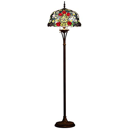 YJFFAN European Retro Tiffany Style 18 Inch Floor Lampe, Gardens Stained Glass Handby Standing Light for Living Room Study Bedroom Lights Pull Chain Switch E27, 110-240v