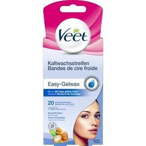 Veet Kaltwachsstreifen mit Easy-Gelwax Technology - Für das Gesicht - Geeignet für sensible Haut - Bis zu 28 Tage glatte Haut - 10 x Doppelstreifen