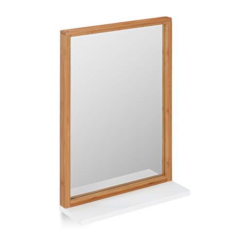 Relaxdays Wandspiegel mit Ablage, Badspiegel mit Rahmen, Bambus & MDF, Spiegel zum Aufhängen, Flurspiegel, Natur/weiß, HxBxT: ca. 54,5 x 38 x 12 cm