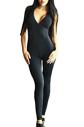 YACUN Damen ärmellos V-Ausschnitt Rückenfrei Sport Jumpsuit Yoga Suit Schwarz XL