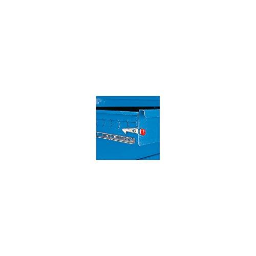 EUROKRAFT Montagewagen – 1 Schrank, 1 Schubladenschrank, bicolor – Korpus lichtblau, Fronten weißaluminium, MDF-Arbeitsplatte – Fahrbare Werkbank Fahrbarer Arbeitstisch Werkbank, fahrbar Werkstattgerät Werkstattwägen Werkbank, fahrbar Werkbänke, fahrbar - 2