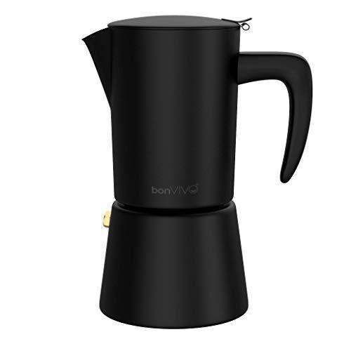 BonVivo® Intenca, Espressokocher aus Edelstahl In Schwarz Matt, Für Vollmundigen Espresso, Klassischer Cafe Maker, Inhalt: Wasserkessel, Sieb Und Kaffeekanne, Für 6 Espressotassen