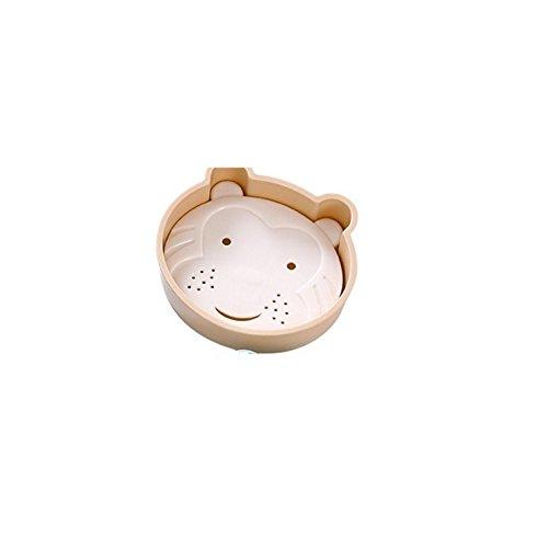 Bar Soap Tray Form (DDOQ Beste Cartoon Bär Form Doppelschicht Abfluss Soap Box Seifenschale Seifenhalter Container Soap Tray-Beige)
