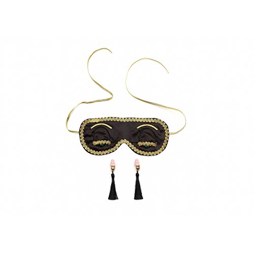Audrey Hepburn Frühstück bei Tiffany Holly Golightly Luxus Mitternacht Schwarz Schlafmaske und Ohrstöpsel Set Handmade