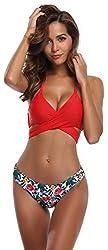 SHEKINI Damen Triangel Zweiteilige Strandkleidung Bandeau Strandmode Bikini Set Bademode Badeanzug Neckholder Gepolstert Bikini Set (Medium, Rot)