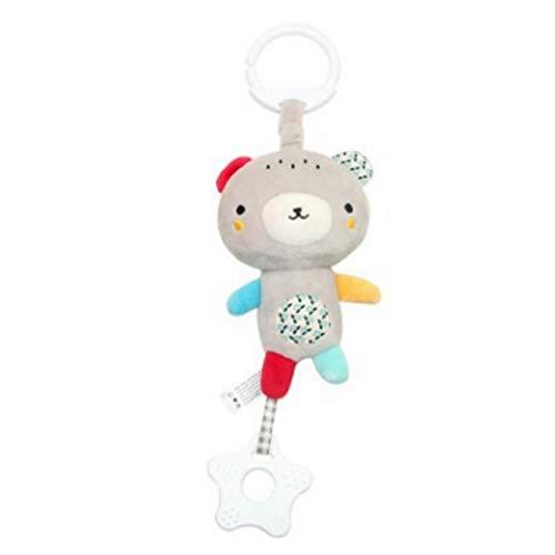 Isuper Kinderwagen Ton Spielzeug Cartoon-Tierform hängende Glocke mit Haken Kindern Fassen Entwicklungs-Plüsch-Spielzeug-Set Musical Krippe Mobile (Gray Little Bear) -