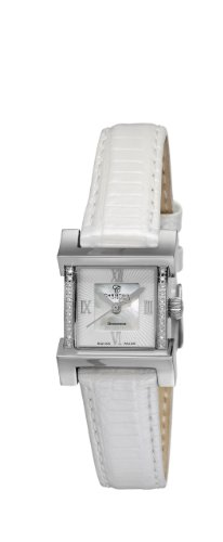 Design Christina London Damenuhr Quarz Wave Women'with Mother of Pearl Dial Analog-Anzeige und weiße Lederband 142SWW