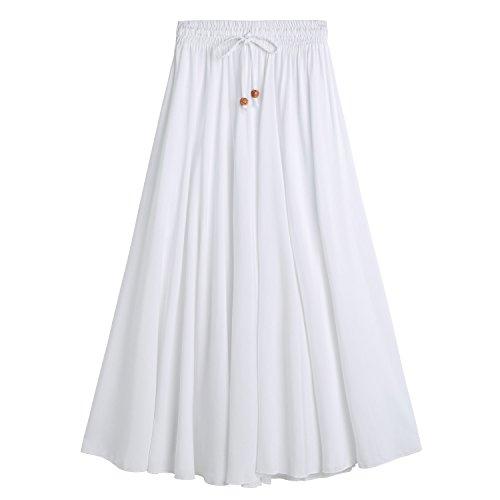 DEBAIJIA Easy Chic Falda Mujer Maxi Algodón Verano Playa Casual Casa Clásica Moda Vintage Plisada Cintura Elástica Blanco-L