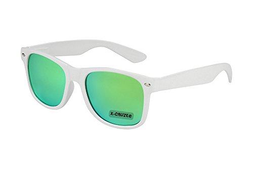 X-CRUZE® 8-101 - Gafas de sol nerd retro vintage unisex hombre mujer gafas nerd - blanco y verde espejado