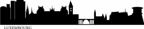 INDIGOS UG - WANDTATTOO / Wandsticker / Wandaufkleber / Aufkleber e567 Skyline Stadt - Luxemburg 80x14 cm - schwarz