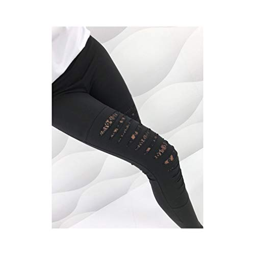 aoliaoyudonggha Sexy Lace Patchwork Women Fashion Hole Lace Casual Pants High Elastic Slim Leggings