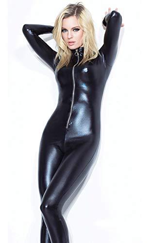 GZxiang Mono elástico Mujer Latex Catsuit Sexy Motocicleta