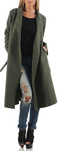 malito Damen Mantel lang mit Wasserfall-Schnitt | Trenchcoat mit Gürtel | weicher Dufflecoat | Parka - Jacke 3050 (oliv) (Grüner Mantel Für Frauen)
