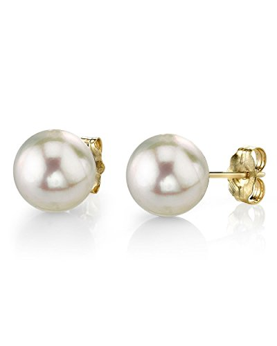 14 K Gelbgold Akoya Cultured Pearl &Diamond Chloe Ohrringe