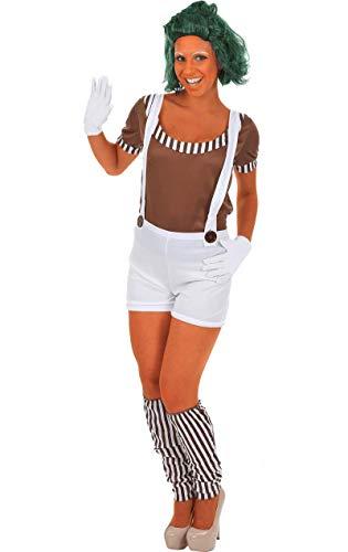 Oompa Loompa Kostüm für Damen (MIT PERÜCKE) Medium (Willy Wonka Kostüm Damen)