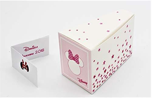 N.20 scatola bomboniera portaconfetti nascita battesimo compleanno comunione completo di bigliettino forma fetta torta minnie stars disney