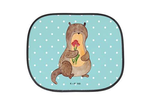 Mr. & Mrs. Panda Sonnenblende, Rücksitz, Auto Sonnenschutz Otter Blumenstrauß - Farbe Türkis Pastell (Türkis-blumenstrauß)