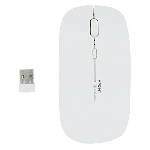 Wireless Mouse, SEARCHALL T3 Ultradünne 2,4 GHz Drahtlose Optische Maus mit 4 Geräuschlosen Tasten für Windows und Mac (Weiß)