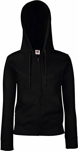 Fruit Of The Loom Lady-Fit Damen Sweatshirt Jacke mit Kapuze (M) (schwarz) M,Schwarz