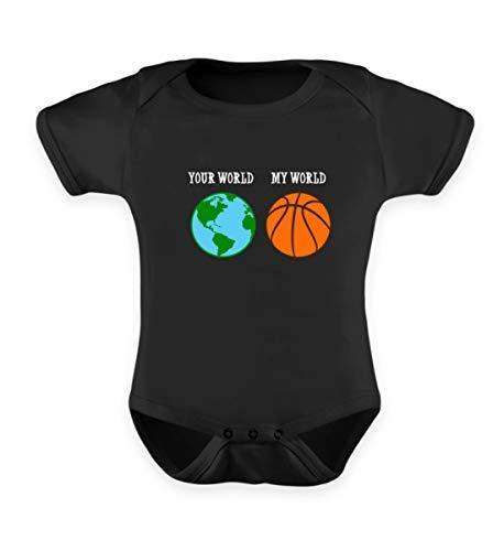 EBENBLATT Basketball Meine Welt Deine Welt Erde Team Spieler Basket Liebhaber Geschenkidee Geschenk - Baby Body -0-6 Monate-Schwarz
