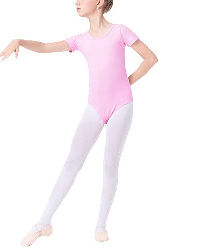 Mengmiao Kinder Mädchen Basic Ballett Tanztrikot Gymnastikanzug Nationales Tanzkostüm Pink1 ()