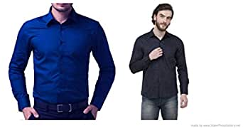 ZAKOD Combo of Plain and Polka Print Cotton Shirts for Men's Wear,Daily Use Shirts,Available Sizes M=38,L=40,XL=42,100% Pure Cotton Shirts(Combo of 2)