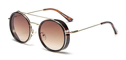 Kuletieas Herren Schild Sonnenbrille Frauen Runde Vintage 2019 Sommer trendige Sonnenbrille für Männer Metallrahmen Uv400 Unisex @ Leopard