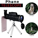 #9: 40X60 Zoom Monocular Telescope Scope for Smartphone Camera Camping Hiking Fishing with Compass Phone Clip Tripod Stand Mobile Phone Mobiles Telescopes