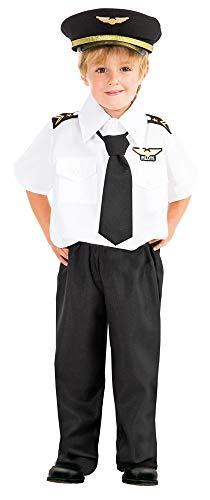 (Das Kostümland Piloten Kostüm Lukas für Kinder - Schwarz Weiß - Gr. 140)