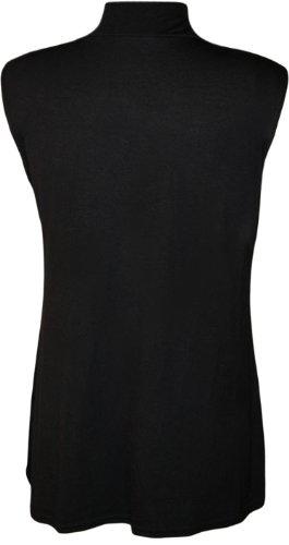 WearAll - Grande taille uni débardeur top avec col roulé - Hauts - Femmes - Tailles 44 à 50 Noir