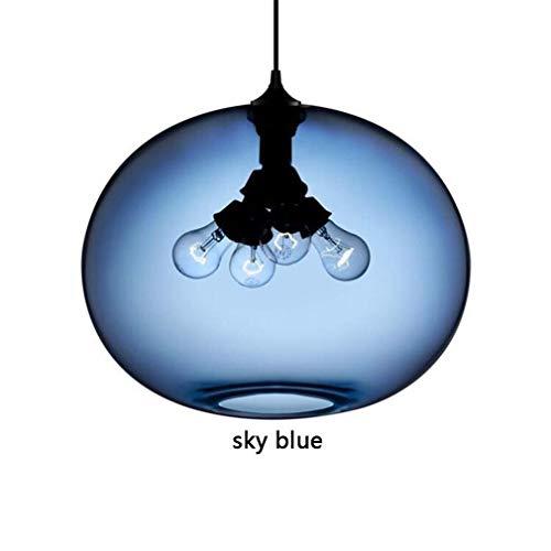 ChuanHan Deckenventilator Licht Kronleuchter Beleuchtung Loft Industrie Bunte Glas Anhänger mit Schatten Led Pendelleuchte für Restaurant Schlafzimmer Kronleuchter (Glas Beleuchtung Anhänger Schatten)
