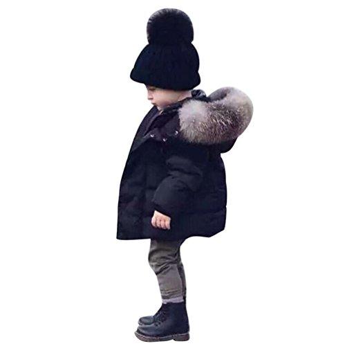 Longra Baby Kinder Mädchen Junge Daunenmantel Daunenjacken mit Fellkapuze Kinder Winterjacke Kapuzenmantel Kapuzenjacke Trenchcoat Warm Kinder Wintermäntel Kleidung (0-5Jahre) (80CM 1Jahre, Black)