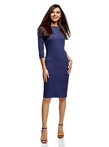 oodji Ultra Damen Tailliertes Kleid mit U-Boot-Ausschnitt, Blau, DE 36 / EU 38 / S