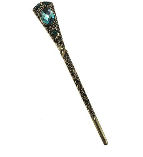 Pour femme 15 cm en métal de bronze rétro Pierre de Cristal orné Bijoux cheveux Bâtons broches Turquoise
