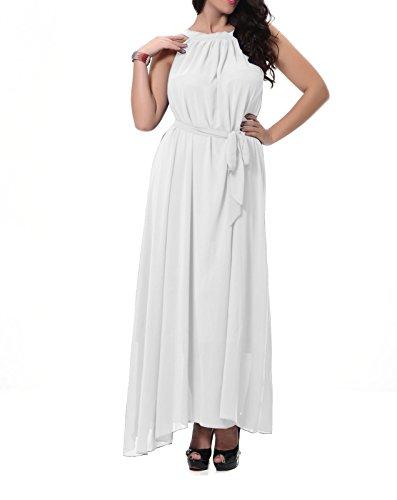 Damen Plus Größe Chiffonkleid Cocktailkleid Abendkleid Ballkleid Sommer Maxi Kleider Lange Sommer Vintage Kleider Weiß