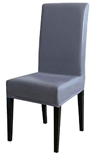 Coprisedia finta pelle elasticizzato con schienale - impermeabile - fodera - lavabile - elastico - protettivo - cucina - sala da pranzo - casa - arredamento - 1 pezzo - colore grigio