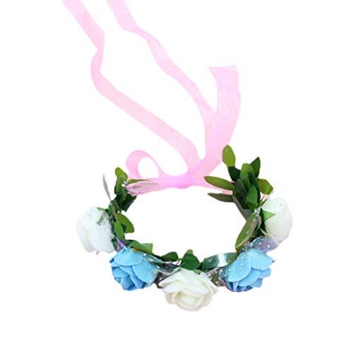 chenpaif Women Girls Wrist Corsage Wristband Contrast Candy Color 5 Foam Flower Bridal Bridesmaid Wedding Wave Point Mesh Ribbon Bracelet 4# White+Blue Blue Ribbon Candy