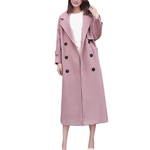 Sunnyuk & Damen mäntel mit Zweireiher Trenchcoat Plus Lange weit jacken mit Filz und großer-Kragen   Camel pink   frühjahr Herbst