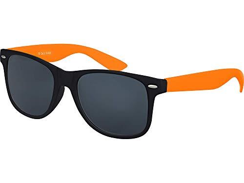 Balinco Hochwertige Nerd Sonnenbrille Rubber im Wayfarer Stil Retro Vintage Unisex Brille mit Federscharnier - 96 verschiedene Farben/Modelle wählbar (Orange/Schwarz - Smoke)