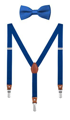 DEBAIJIA Boutique en Caja Conjunto Tirantes y Pajarita Para 18 Años Niños Niñas 3 Clips 25 cm Ancho Y Forma Moda Metal Elástica Ajustable Azul rey