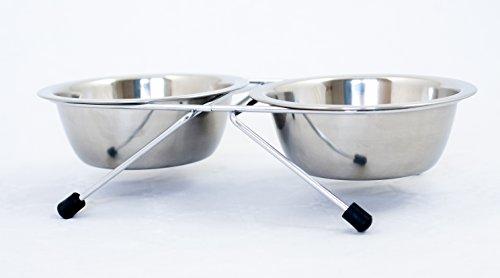 Sunlife Hundenapf mit Fuß aus Edelstahl, mit Noppen–Schüssel für Hunde und Katzen–Zubehör für - Welpen Schalen Erhöhte
