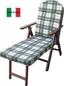 Poltrona sedia sdraio amalfi con prolunga in legno reclinabile 4 posizioni cuscino imbottito h 105 cm soggiorno cucina salone divano (il16 verde)