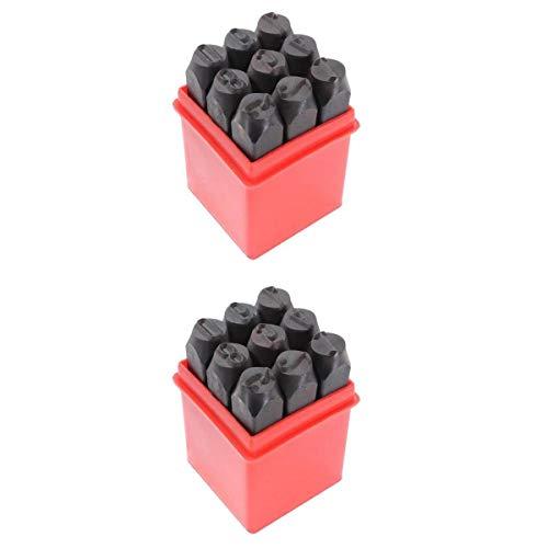 Fenteer 2 Packungen Mit 18 Stü Stahl Metall Nummer Stamping Punch Tool Stamps Kit 3 Mm Und 12,5 Mm