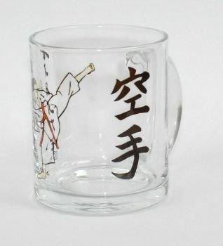 Sportland Glas Tasse mit Motiv Karate Figur
