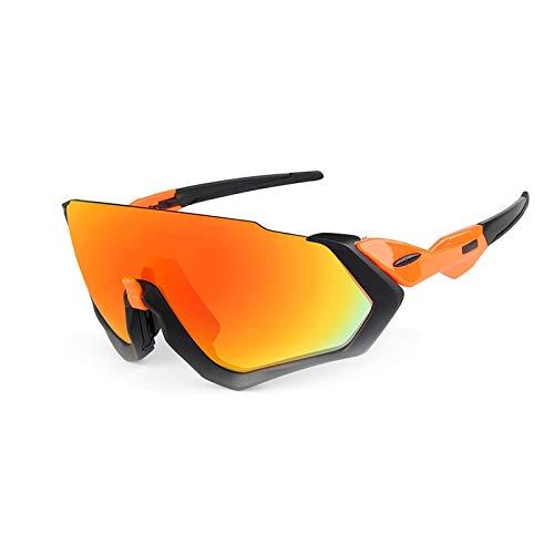Sportbrille Transparent Fahrradreitbrillen Tragen Winddichte Polarisierte Brillen Orange+Red Lenses Damen Herren