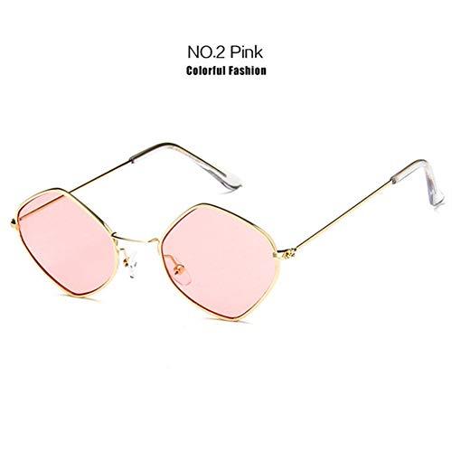 Li Kun Peng Kleine Sonnenbrille Frauen Vintage Metall Hexagon Klar Rosa Sonnenbrille Männer Retro Brillen Uv400 Brillen,C2Pink
